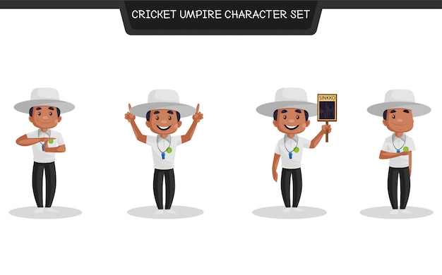 Cartoon illustration of cricket umpire character set