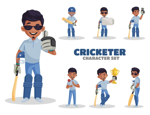 Cartoon illustration of cricketer character set