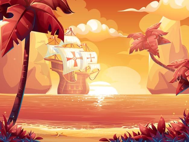 Cartoon illustration of a crimson sun, sunrise or sunset on the sea with galleon.