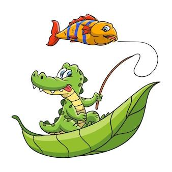 Мультфильм иллюстрация крокодил рыбалка
