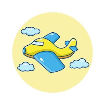 Cartoon illustration of cute airplane flying