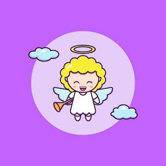 Cartoon illustration of cute angel flying with trumpet