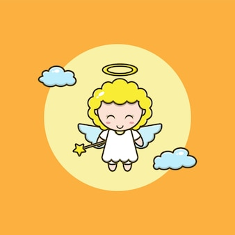 Cartoon illustration of a cute angel holding a flying star stick