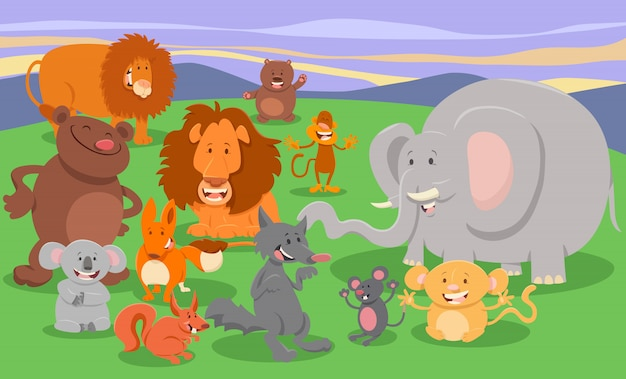 Cartoon illustration of cute animal characters