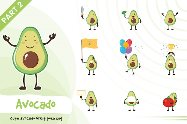 Cartoon illustration of cute avocado fruit set