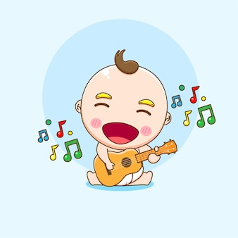Cartoon illustration of cute baby boy character playing guitar