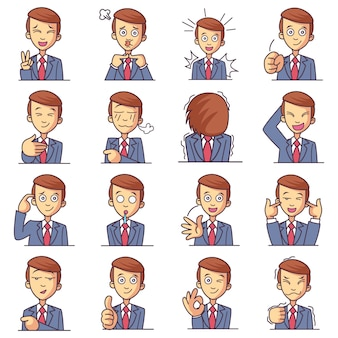 Cartoon illustration of cute boy set.