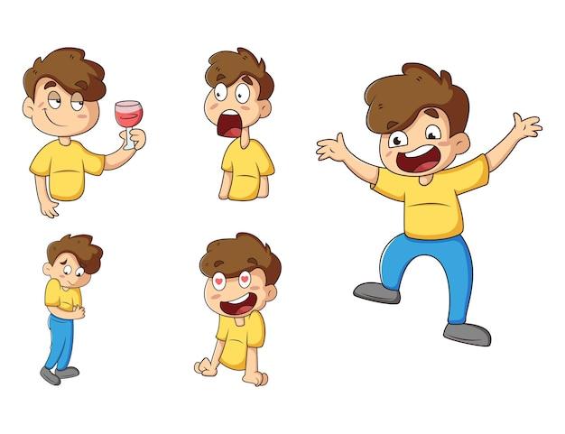 Cartoon illustration of cute boy sticker set