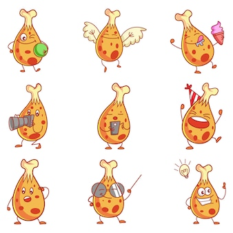 Cartoon illustration of cute chicken set.