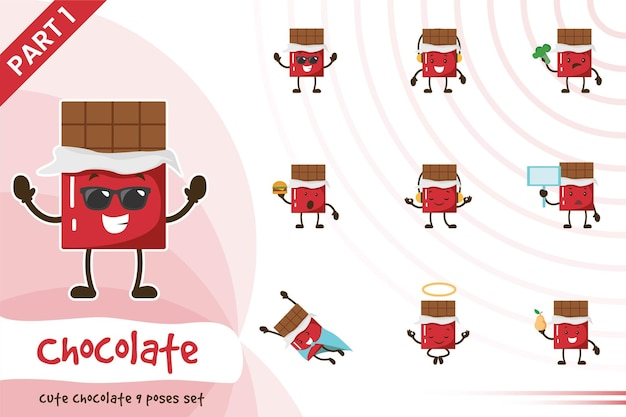 Cartoon illustration of cute chocolate poses set.