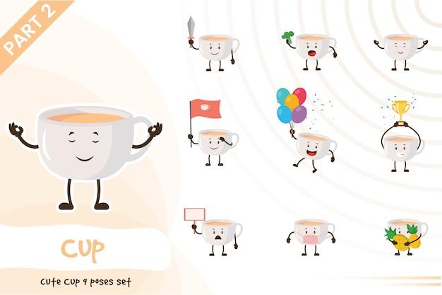 Cartoon illustration of cute cup set