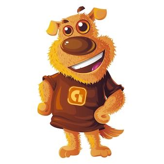 Cartoon illustration of cute dog wearing shirt.