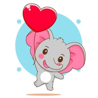 Cartoon illustration of cute elephant flaying with love balloon