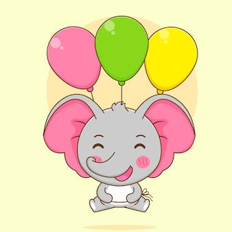 Cartoon illustration of cute elephant floating with colorful balloons
