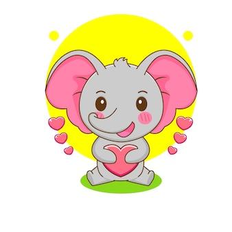 Cartoon illustration of cute elephant holding love heart