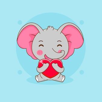 Cartoon illustration of cute elephant hugs love