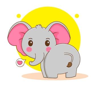 Cartoon illustration of cute elephant looking back