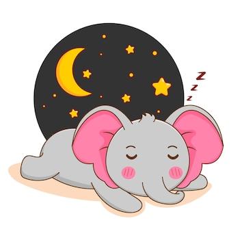 Cartoon illustration of cute elephant sleeping