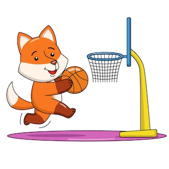 Cartoon illustration of a cute fox playing basketball
