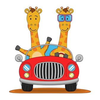 Cartoon illustration of cute giraffe driving a car