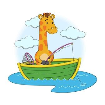 Cartoon illustration of cute giraffe fishing