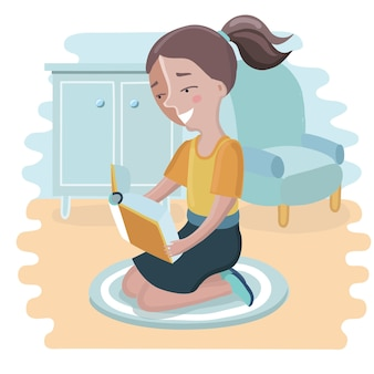 Cartoon illustration of cute girl reading a book and seating on her knees