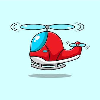 Cartoon illustration of cute helicopter flying