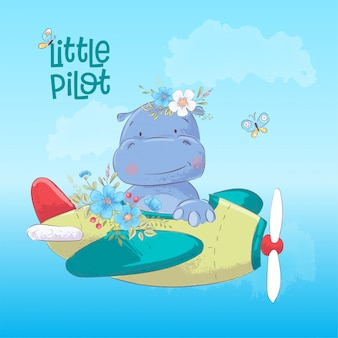 Cartoon illustration of a cute hippo on an airplane