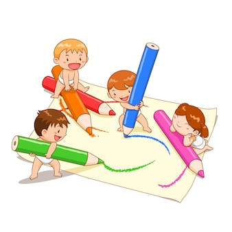 Cartoon illustration of cute kids playing colour pencils on paper.