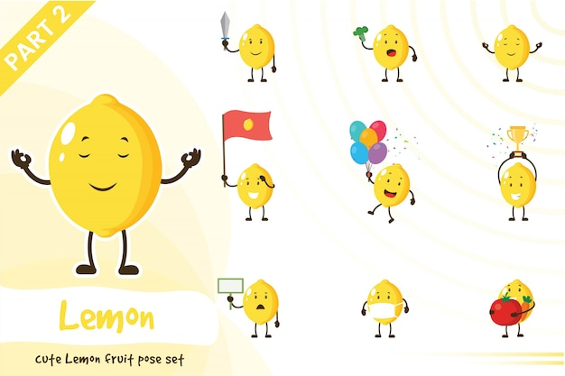 Cartoon illustration of cute lemon fruit set