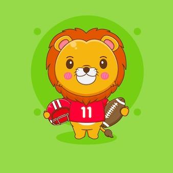 Cartoon illustration of cute lion football playe