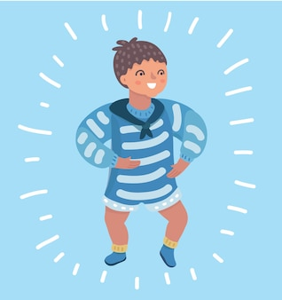 Cartoon illustration of cute little baby boy trying to step on blue background