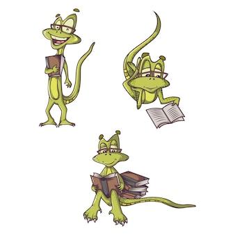 Cartoon illustration of cute lizard set.