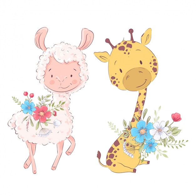 Cartoon illustration of a cute llama and giraffe