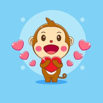 Cartoon illustration of cute monkey character holding love
