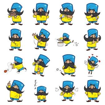 Cartoon illustration of cute mustache man set.