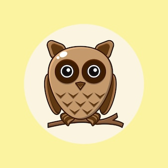 Cartoon illustration of a cute owl perched on a tree branch