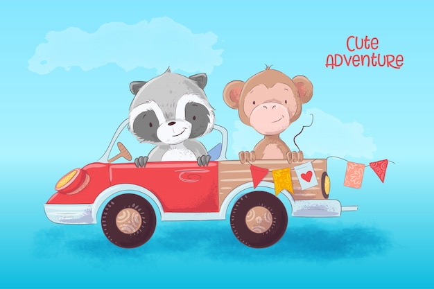 Cartoon illustration of a cute raccoon and monkey on a truck