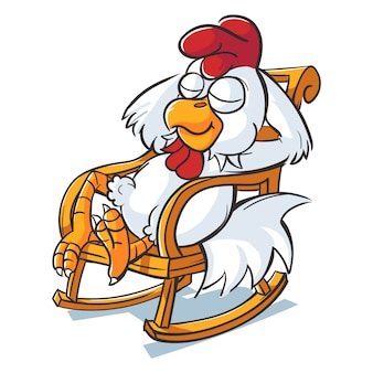 Cartoon illustration of cute rooster.