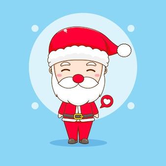 Cartoon illustration of cute santa claus chibi character