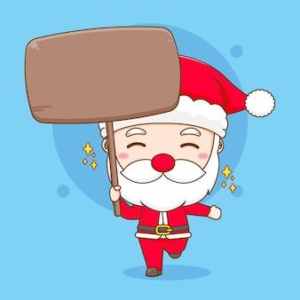 Cartoon illustration of cute santa claus holding board chibi character