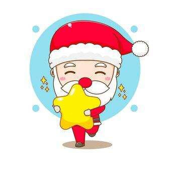 Cartoon illustration of cute santa claus holding star chibi character