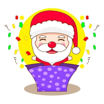 Cartoon illustration of cute santa claus popped out from gift box chibi character