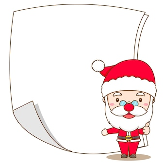 Cartoon illustration of cute santa claus with blank paper chibi character