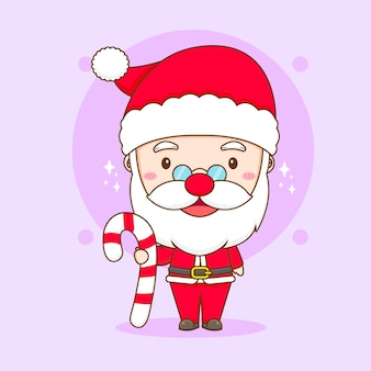 Cartoon illustration of cute santa claus with candy chibi character