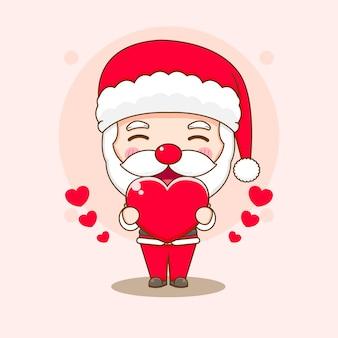 Cartoon illustration of cute santa claus with love heart chibi character