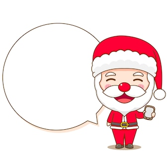 Cartoon illustration of cute santa claus with phone and bubble speech chibi character