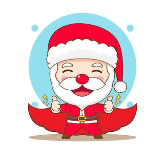 Cartoon illustration of cute santa claus with red cloakchibi character