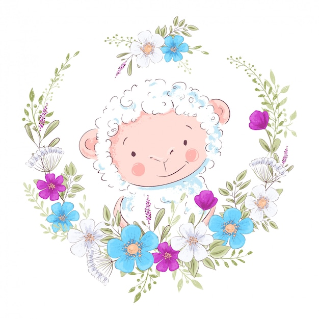 Cartoon illustration of a cute sheep in a wreath of blue and purple flowers
