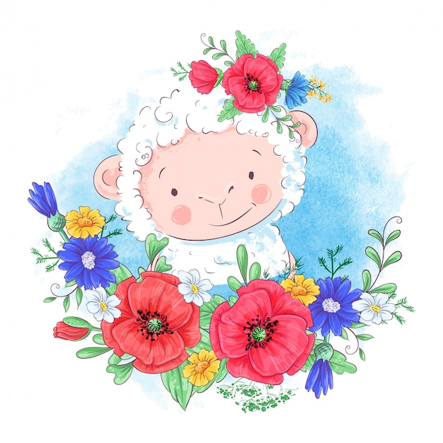 Cartoon illustration of a cute sheep in a wreath of red flowers